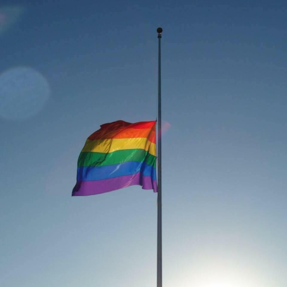 Rainbow flag halfmast